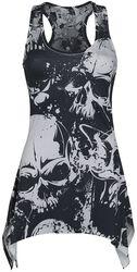 Skull Pattern Lace Panel Vest