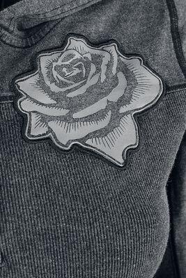 Harmaa hupullinen pitkähihainen paita painatuksilla