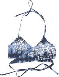 Blau/weißes Batik Bikinioberteil in Wickeloptik mit Print