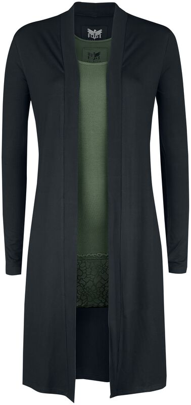 Long Black Cardigan and Green Top Black Premium