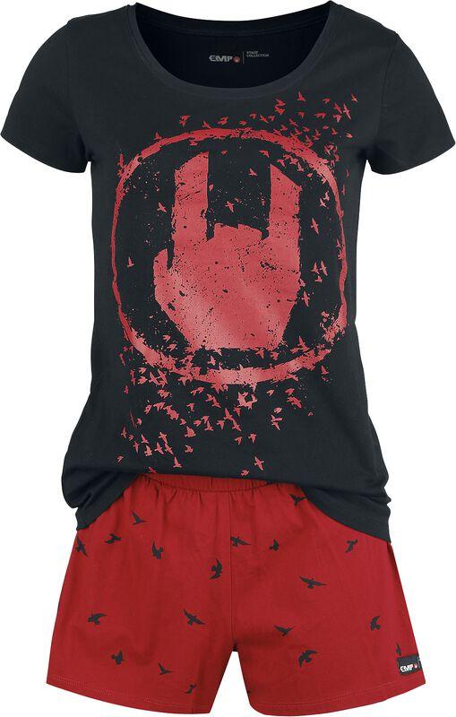 Musta/punainen pyjama Rockhand-painatuksella