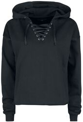 Black Hoodie with Lacing at Neckline