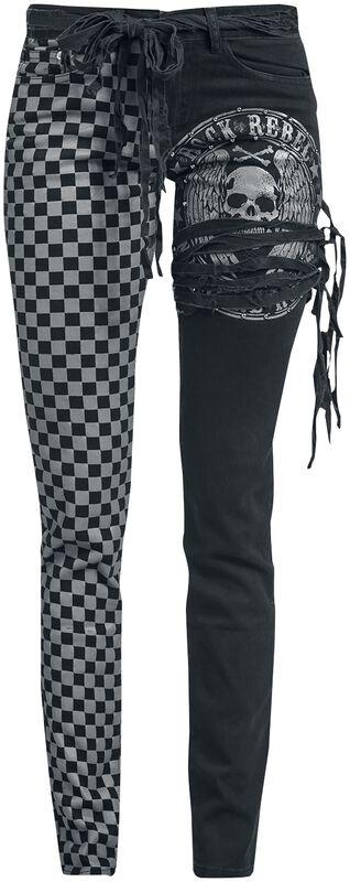 Skarlett - Mustat/harmaat farkut painatuksilla ja koristenyöreillä