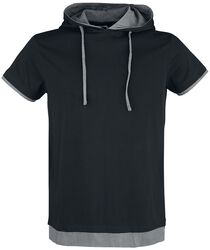 Schwarzes T-Shirt mit Kapuze