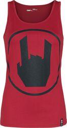 Punainen toppi EMP-logopainatuksella