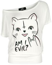 Valkoinen T-paita pyöreällä kaula-aukolla ja painatuksella