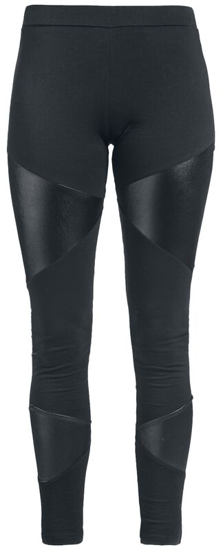 Mustat leggingsit keinonahkaisilla koristeilla
