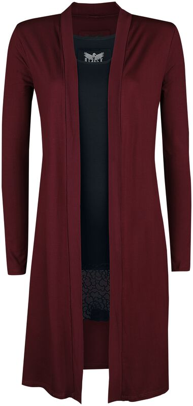 Long Red Cardigan and Black Top Black Premium