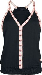 RED X CHIEMSEE - Black Top with Multi-Coloured Seams