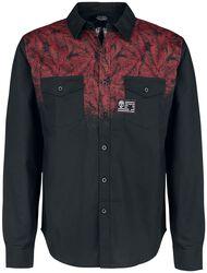 Schwarzes Hemd mit rotem Blätterprint