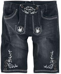 Mustat lederhosen-tyyliset shortsit brodeeratuilla Rockhand-logoilla ja koristeilla