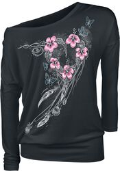 Musta pitkähihainen paita painatuksella ja pyöreällä pääntiellä
