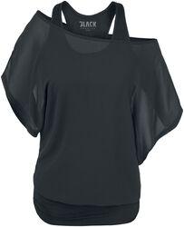 Schwarzes T-Shirt mit Fledermausärmeln