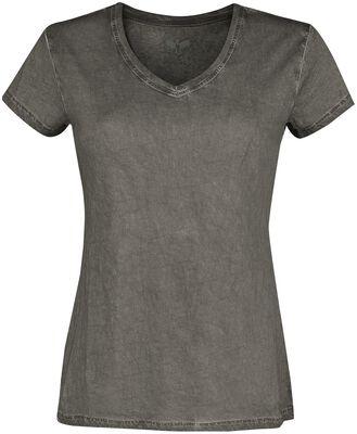 Harmaa T-paita V-kaula-aukolla