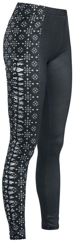Mustat leggingsit leikkauksilla ja yksityiskohtaisilla painatuksilla