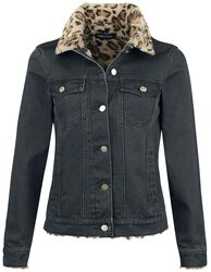 Leopard-Print Denim Jacket