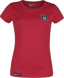 Punainen T-paita pyöreällä pääntiellä