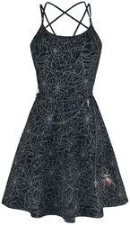 Gothicana X Anne Stokes - musta lyhyt mekko painatuksella ja ketjuilla