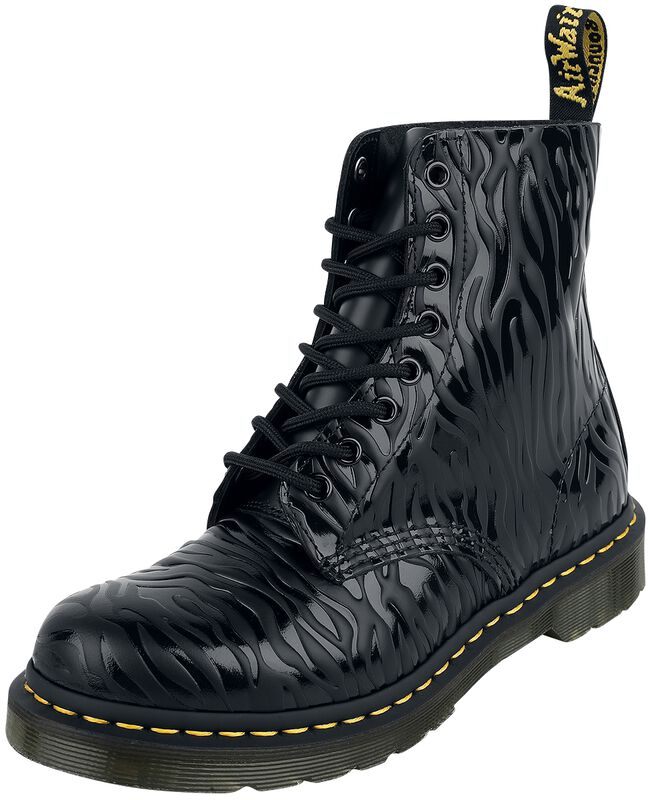 1460 Pascal Black Zebra Gloss Emboss Smooth 8 Eye Boot maiharit
