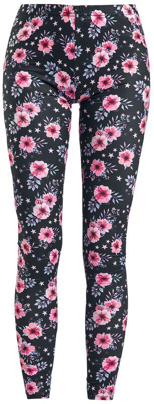 Värikkäät leggingsit kukkakuvioilla