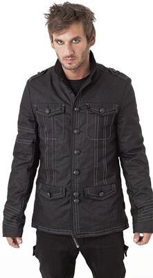 Jacket With Decorative Stitching and Front Pockets