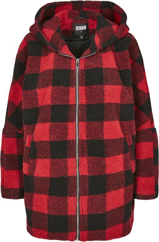 Ladies Hooded Oversized Check Sherpa Jacket talvitakki