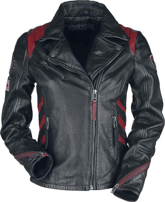 Musta/punainen biker-tyylinen nahkatakki  kangasmerkeillä