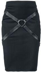 Black Bondage-Look Skirt