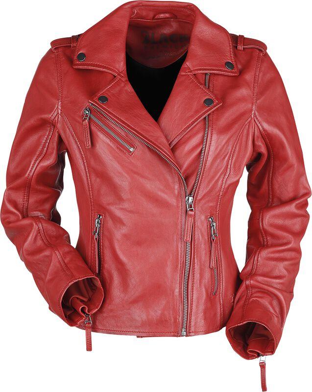 Punainen nahkatakki biker-tyyliin