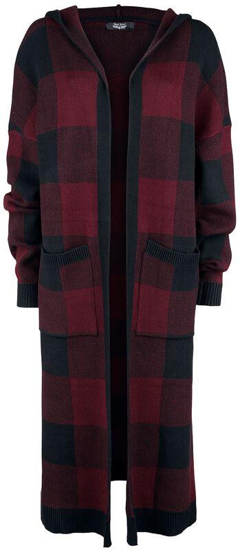 Musta/punainen ruudullinen neuletakki hupulla