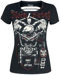 Schwarzes T-Shirt mit Rundhalsausschnit und Cut-Outs