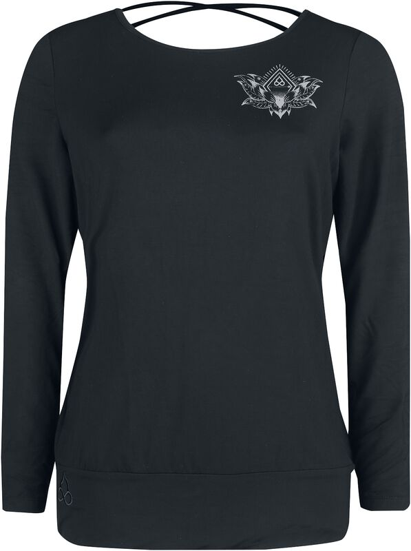 Sport and Yoga - musta pitkähihainen paita yksityiskohtaisella painatuksella vasemmassa rinnassa ja selässä