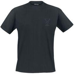 Musta T-paita etubrodeerauksella