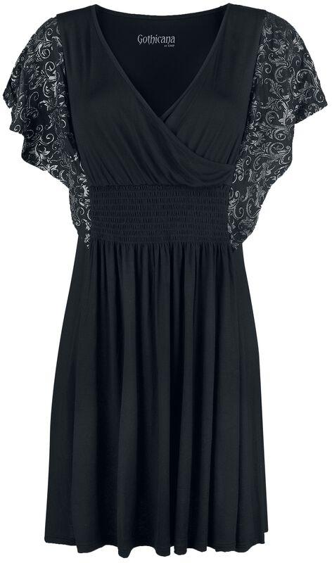 Musta mekko kiiltävän hopeisilla hihapainatuksilla