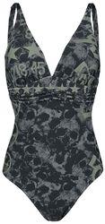 Schwarzer Badeanzug mit Skull-Muster und Prints