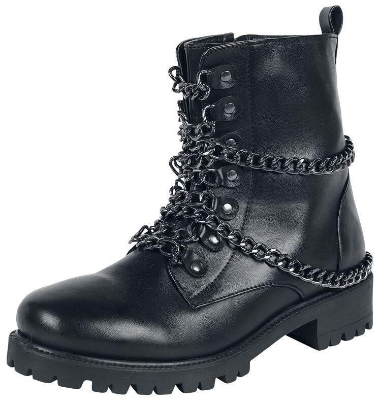 Schwarze rockige Boots mit Ketten
