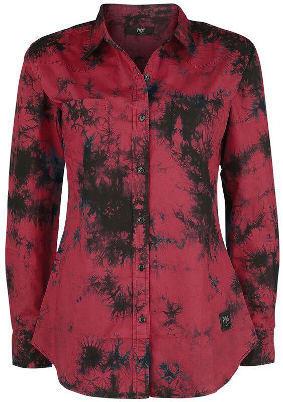 Punainen pitkähihainen paita batiikkivärjäyksellä