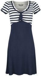 Sininen/valkoinen mekko 50-luvun tyyliin