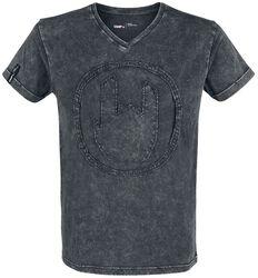 Harmaa T-paita erikoispesulla ja Rockhand-applikoinnilla