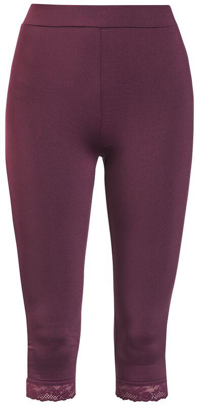 Viininpunaiset 3/4-pituiset leggingsit pitsisillä lahkeensuilla
