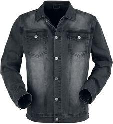 Tummanharmaa takki rintataskuilla ja nappilistalla