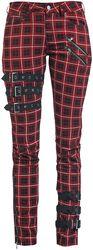 Scarlet - Punaiset/mustat housut koristesoljilla