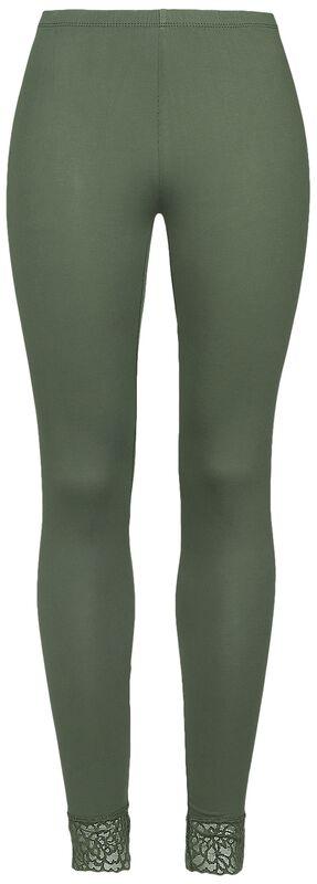 Vihreät pitkät leggingsit pitsisillä lahkeensuilla