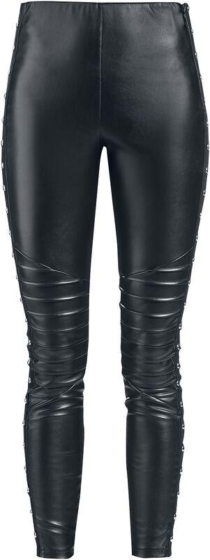 Mustat nahkatyyliset leggingsit prätkätikkauksella ja niiteillä
