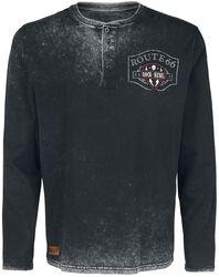 Rock Rebel X Route 66 - musta pitkähihainen paita nappilistalla, painatuksella ja applikoinnilla