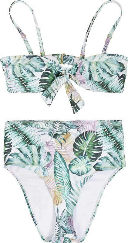 Ladies High Waist Leaf Pattern Bikini bikinit