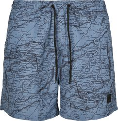 Pattern Swim Shorts- Map AOP