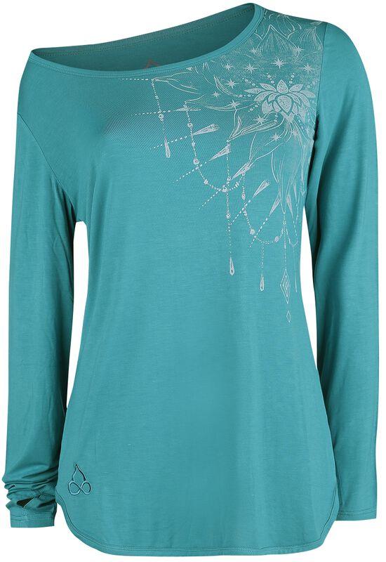Sport and Yoga - turkoosi pitkähihainen paita yksityiskohtaisella painatuksella