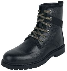 Black Laced Boots with Camouflage Pattern
