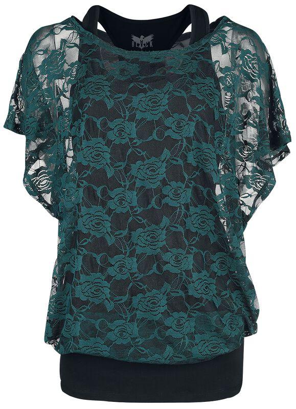 Musta toppi vihreällä pitsi-T-paidalla